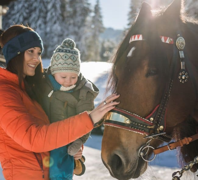 Woman and child stroking a carriage horse © SalzburgerLand Tourismus